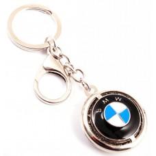 Кръгъл автомобилен ключодържател с емблема на BMW, декориран с бели камъни