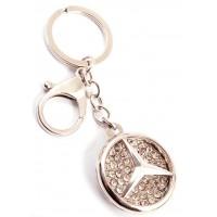 Ключодържател във формата на ключ с емблема на MERCEDES, декориран с бели камъни