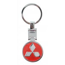 Автомобилен метален ключодържател - кръгла червена емблема на Mitsubishi