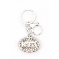 Ключодържател с емблема на Kia, декориран с бели камъни