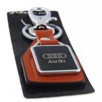 Автомобилен ключодържател с пластина и кожена подложка - Audi