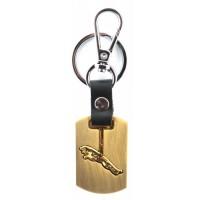 Автомобилен ключодържател с пластина и кожена подложка - JAGUAR