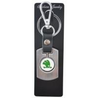 Автомобилен ключодържател с пластина и кожена подложка - Skoda