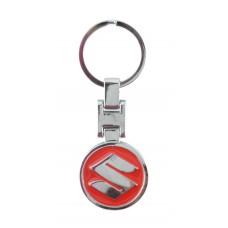 Автомобилен метален ключодържател - кръгла червена емблема на Suzuki