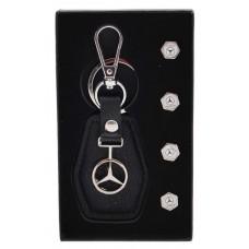 Комплект от автомобилен ключодържател и 4бр. капачки за винтили - Mercedes