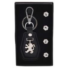 Комплект от автомобилен ключодържател и 4бр. капачки за винтили - Peugeot