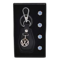 Комплект от автомобилен ключодържател и 4бр. капачки за винтили - Volkswagen